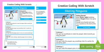 Skating Penguins Scratch Activity Sheet - worksheet, computing, programming, coding, algorithms, instructions, commands, Scratch