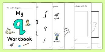 My Workbook q lowercase - workbook, q sound, lowercase, letters, alphabet, activity, handwriting, writing