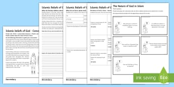 The Nature of God in Islam Activity Sheets - transcendent, Immanent, Creator, all-powerful, all-knowing, merciful, just, fair, worksheets