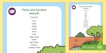 Parks and Gardens Sensory Bin - playground, play park, outdoors. sensory play, natural materials,