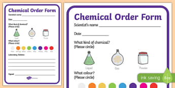 Science Lab Role Play Chemicals Order Forms - laboratory, scientist, science, order forms, form, ordering, professor, experiment, bottle, chemistry, chemicals