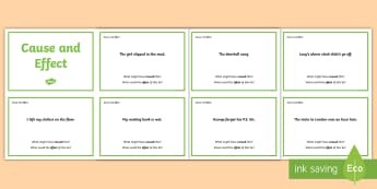 Guided Reading Skills Task Cards Cause and Effect - reading