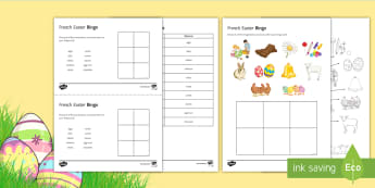 French Easter Bingo - KS3, French, Easter, bingo, loto, game, jeu, Pâques, custom, French