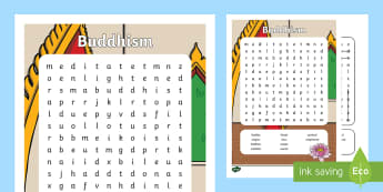 KS1 Buddhism Word Search - Buddha, Buddhist, Activity, Wordsearch, English