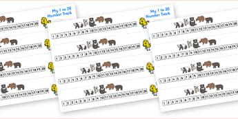 Bears Number Track (1-20) - Maths, Math, Bears, bear, number track, numbertrack, Counting, Numberline, Number line, Counting on, Counting back, animals, polar bear, koala bear, brown bear, grizzly bear, sloth bear,  bear resources