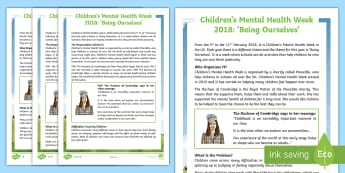 UKS2 Children's Mental Health Week  Differentiated Fact File - events, well-being, children, self-esteem, Duchess of Cambridge, wellness, mindfulness, charity