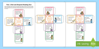 Year 2 Roll and Respond Reading Dice Nets - comprehension, understanding, questioning, Y2, ks1, home readers, parents