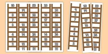 Ladder Missing Number to 30 Worksheets - ladder, missing number, 30, worksheets, numeracy, maths, numbers