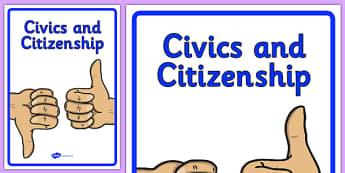 Curriculum Civics and Citizenship Book Cover - book cover, front page, title page, civics, citizenship, Australian Curriculum, labels, Australia