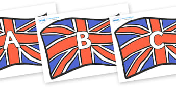 A-Z Alphabet on Union Jacks - A-Z, A4, display, Alphabet frieze, Display letters, Letter posters, A-Z letters, Alphabet flashcards