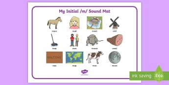 Initial m Sound Mat - initial m, m sound, sound mat, sounds