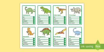 KS1 Dinosaur Card Game - Safari Animal Top Trumps Cards - animals, cards, card games , top trumphs, aniamls, extinct,