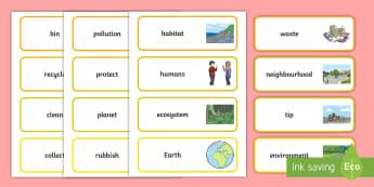 F-2 Keep Australia Beautiful Word Cards - KAB, Recycling, Sustainability, Foundation, Yr 1, Yr 2, Litter, word cards, vocabulary,Australia