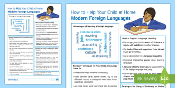 How To Help Your Child With MFL Parents Guide - support, parents evening, leaflet, tips, languages, handout