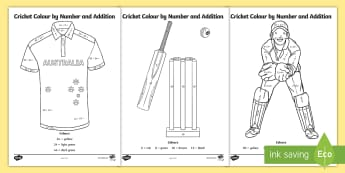 Cricket Colour by Number and Addition Colouring Pages - Mathematics, Year 1, Year 2, Number And Algebra, Number and place value, ACMNA015, ACMNA030, colour