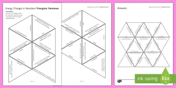 Energy Changes in Reactions Tarsia Triangular Dominoes - Tarsia, gcse, chemistry, endothermic, exothermic, bond energy, activation energy, reaction profile, plenary activity