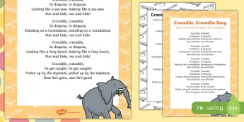 Crocodile, Crocodile Song to Support Teaching on The Enormous Crocodile