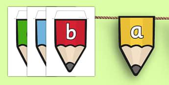 Alphabet on Pencil Bunting - alphabet, pencil, bunting, display