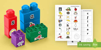 Alphabet Matching Connecting Bricks Game - EYFS, Early years, KS1, Literacy, alphabet, initial sounds.