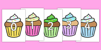 Numbers 0-100 on Cupcakes - 0-100, foundation stage numeracy, Number recognition, Number flashcards, counting, number frieze, Display numbers, number posters