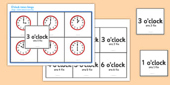O' Clock Times Bingo Romanian Translation - EAL, translated, bilingual,  time, analogue, clock, hourly, hour