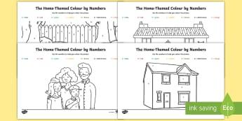 The Home Aistear Themed Colour by Numbers Activity Sheet - ROI, Aistear, house, playtime, activity, worksheet