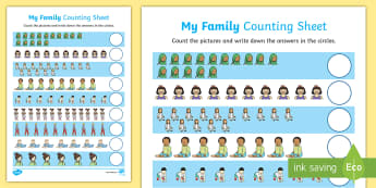 My Family Up to 15 Counting Worksheet / Activity Sheet - Ourselves, me, myself, family, families, people, mums, dads, mummy, daddy, counting, count, 15, twen