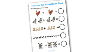 The Little Red Hen Addition Sheet - the little red hen, addition, sheet, addition sheet, the little red hen worksheet, addition worksheet, numeracy, maths