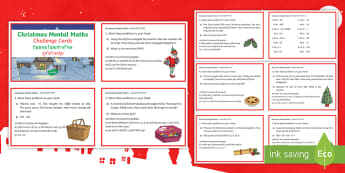 Year 3 Christmas Mental Math Challenge Cards English/Hindi -  maths, Christmas mental maths, solutions, problems, cakes, elf, challenges