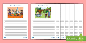 Picture Punctuation Activity Sheets -  questions, exclamations, ending marks, Statements, worksheets, Commands, Creative Writing, Picture