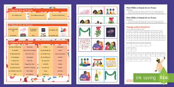 New Year in France Key Vocabulary Differentiated Activity Pack French - word searches, celebration, event, nouvel An, bingo, word mat, loop card, ,French