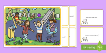 Playground Scene and Question Cards - school, break time, yard, questions, comprehension pack,comprehesion,comprehnsion,comprehention, com