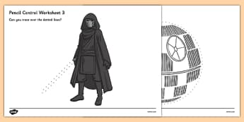 Space Wars Themed Pencil Control Worksheets - space wars, star wars, space, wars, star, pencil, control