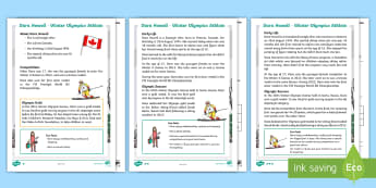 KS1 Dara Howell 2018 Winter Olympics Athlete Differentiated Reading Comprehension Activity - guided reading, canadian athlete, pyeonchang, freestyle skiing,