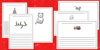 Christmas Cat Themed Writing Frames - christmas cat, mog, writing frames