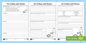 KS2 The Problem with Plastics Differentiated Activity Sheet - science and the environment, pollution, global warming, human effect on the planet, worksheet