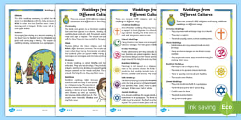 KS1 Weddings From Different Cultures  Differentiated Fact File - Marriage, Religions, Ceremony, Celebration, Bride And Groom