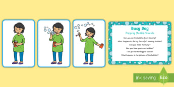 Popping Bubble Sounds Busy Bag Prompt Card and Resource Pack - EYFS Phase 1 Aspect 5: Alliteration, letters and sounds, phonics, speech and language, speech develo