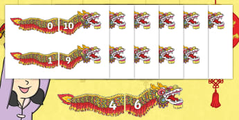 Dragons in the City Number Bonds to 10 Cut-Outs - originals, fiction, Chinese New Year, chinese dragon, dragon, addition, pairs, rapid recall, number