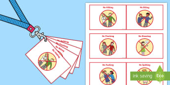 Lanyard Sized Visual Support Cards - support, sen, special needs, behaviour, choices, hurting, hitting, pushing, eal