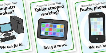 Computer Repair Shop Role Play Posters - computer reapir shop, role play, posters, computer reapir shop posters, computer reapir shop role play, role, play