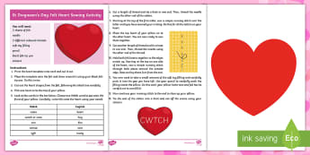 Saint Dwynwen's Day Felt Heart Sewing Activity Sheet - Welsh Celebrations, Cwtch, Love, Cariad, present, gift