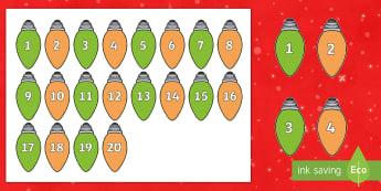 Christmas Lights Number Sequencing Peg Activity - EYFS, Early Years, KS1, Key Stage 1, Christmas, Xmas, Christian Festival, Christmas Lights, Fairy Li