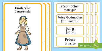 Cinderella Character Describing Words Matching Activity English/Italian  - Cinderella Character Describing Words Matching Activity - match, Cindarella, cinderlla, cindrella, c