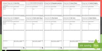 Black History Month - Influential Black Leaders Activity Sheets - Nelson Mandela, Martin Luther King, Rosa Parks, Frederick Douglass, Mary Seacole, Shaka Zulu, Malcol