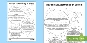 Bewuste Ek: Asemhaling en Borrels Aktiwiteit  - stres, spanning, ontspan, ontspanning, rustig, kalmeer, welstand