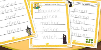 Rapunzel Trace the Words Worksheet - rapunzel, key, word, key words, tracing, worksheets, key word worksheets, tracing worksheets, sheets about rapunzel