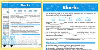 Australian Animals Years 3-6 Sharks Differentiated Cloze Passage Activity Sheet - australia, Australian Curriculum, animals, fish, differentiated, cloze, fast finisher, information, reading,austrailia,austrila,australua,austraila,aniamls,,cloze proce