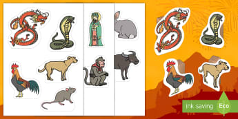 Chinese New Year Story Small World Characters - CNY, festivals, celebrations, year of the Rooster, Chinese Zodiac, chinese animals,