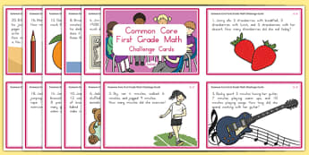 Common Core First Grade Math OA 2 Task Cards Challenge Cards
